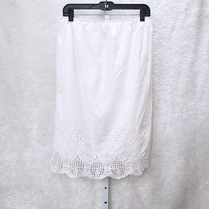 Lulus Midi Floral Cut Out White Skirt